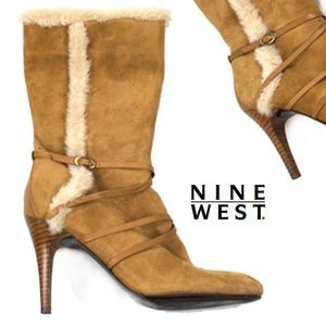Nine West Faux Fur Leather Strapped Heel Boot 7M